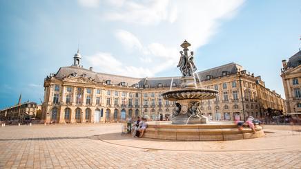 View of the famous La Bourse square in Bordeaux city
