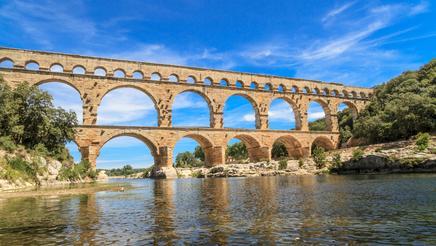 Pont du Gard, the old Roman aqueduct near Nîmes in Southern France.