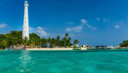 Lengkuas Island with white lighthouse Belitung, Indonesia