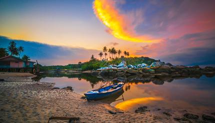 Beautiful sunset in the fishing village of Bintan Island, Indonesia