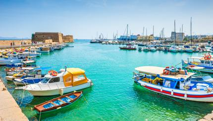 Old venetian harbour in Heraklion, Crete, Greece