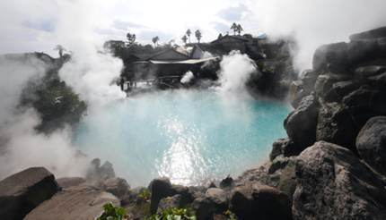 Natural hot spring in Oita, Japan