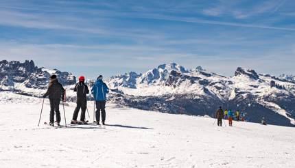 Skiers in Cortina's ski resort, Italy