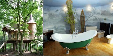 Exterior of Fernie Castle Treehouse and interior shot of bathroom