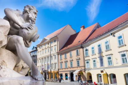 The Robba fountain in Ljubljana, Slovenia