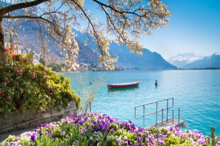 Swiss Riviera of Lake Geneva (Leman) in Montreux, Switzerland