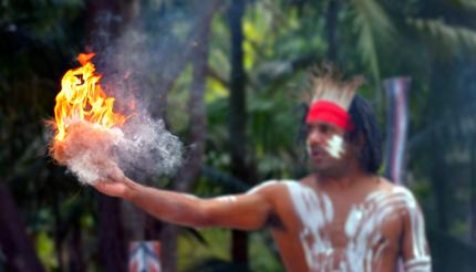 A Yugambeh Aboriginal warrior demonstrates fire-making craft.