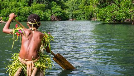 A tribal boy in Papua New Guinea