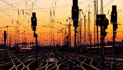 Railroad tracks at a major train station