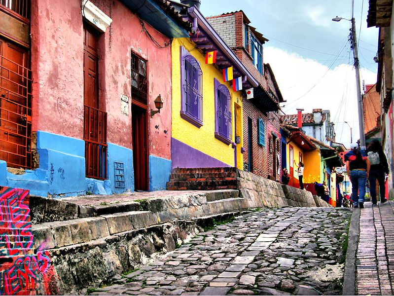A cobbled street in the historic centre of Bogotá