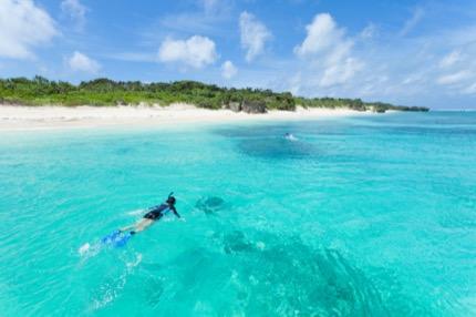 Snorkellers paddle towards one of Okinawa's ubiquitous beaches