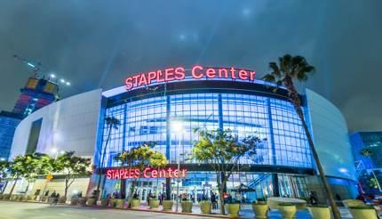 Staples Center at night