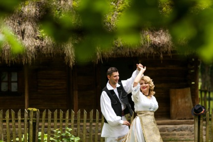 A couple in traditional costume, Romania