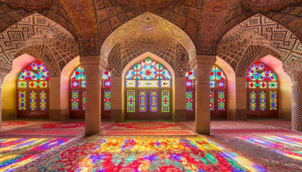 Iran - Nasir Al-Mulk Mosque (Pink Mosque) in Shiraz, Iran.