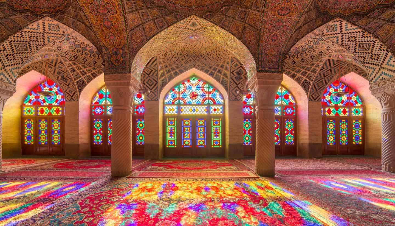 - Nasir Al-Mulk Mosque (Pink Mosque) in Shiraz, Iran.