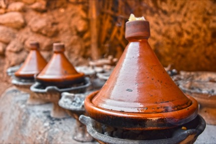 Cooking traditional Moroccan tajine