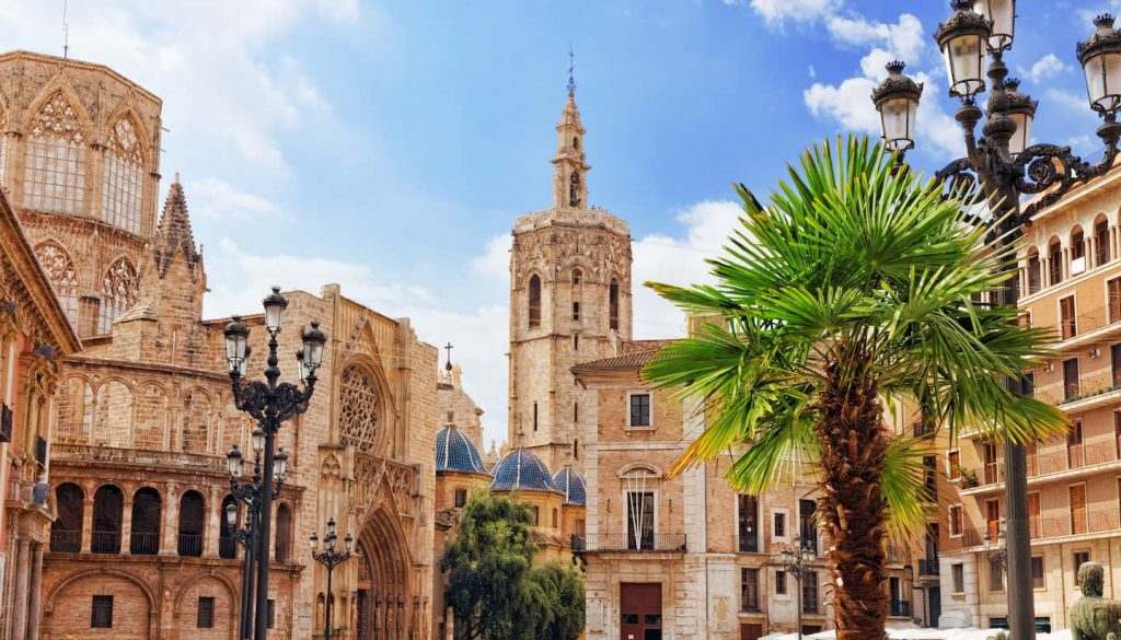 Valencia - Saint Mary's Square and Valencia cathedral, Spain