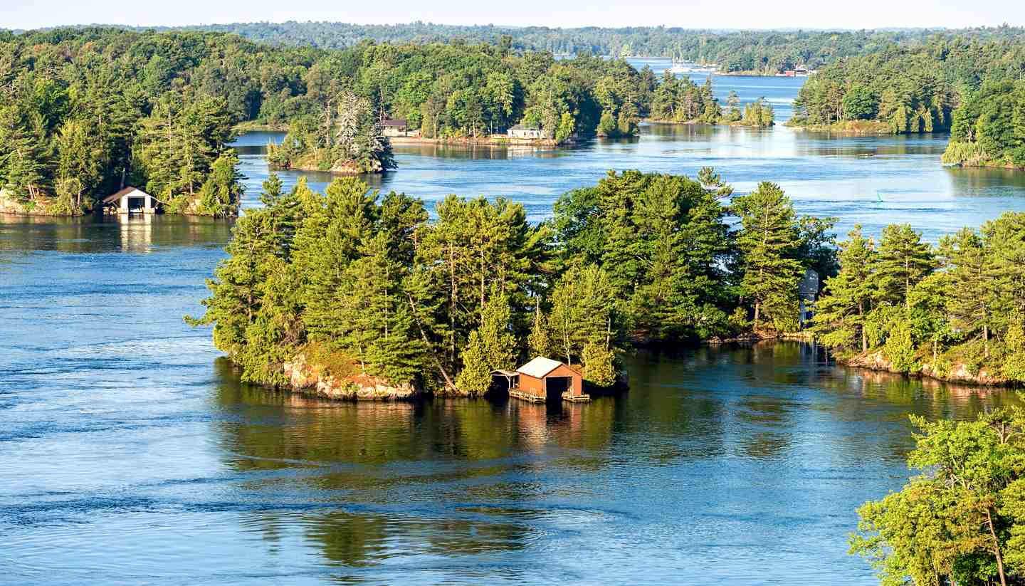 Ontario - Boathouses in Thousand Islands region in Ontario, Canada