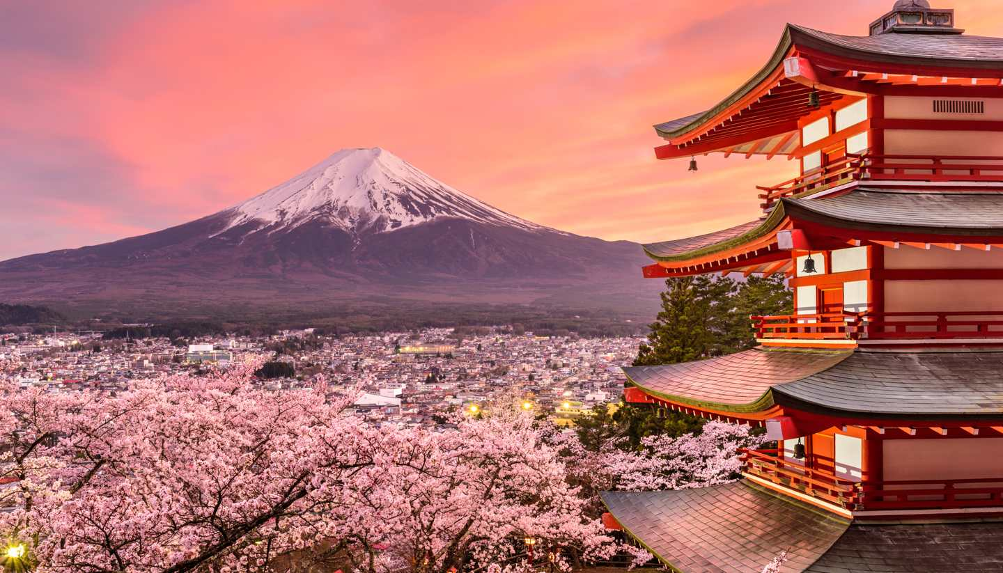 Japan - Chureito Pagoda with Mt Fuji in the distance