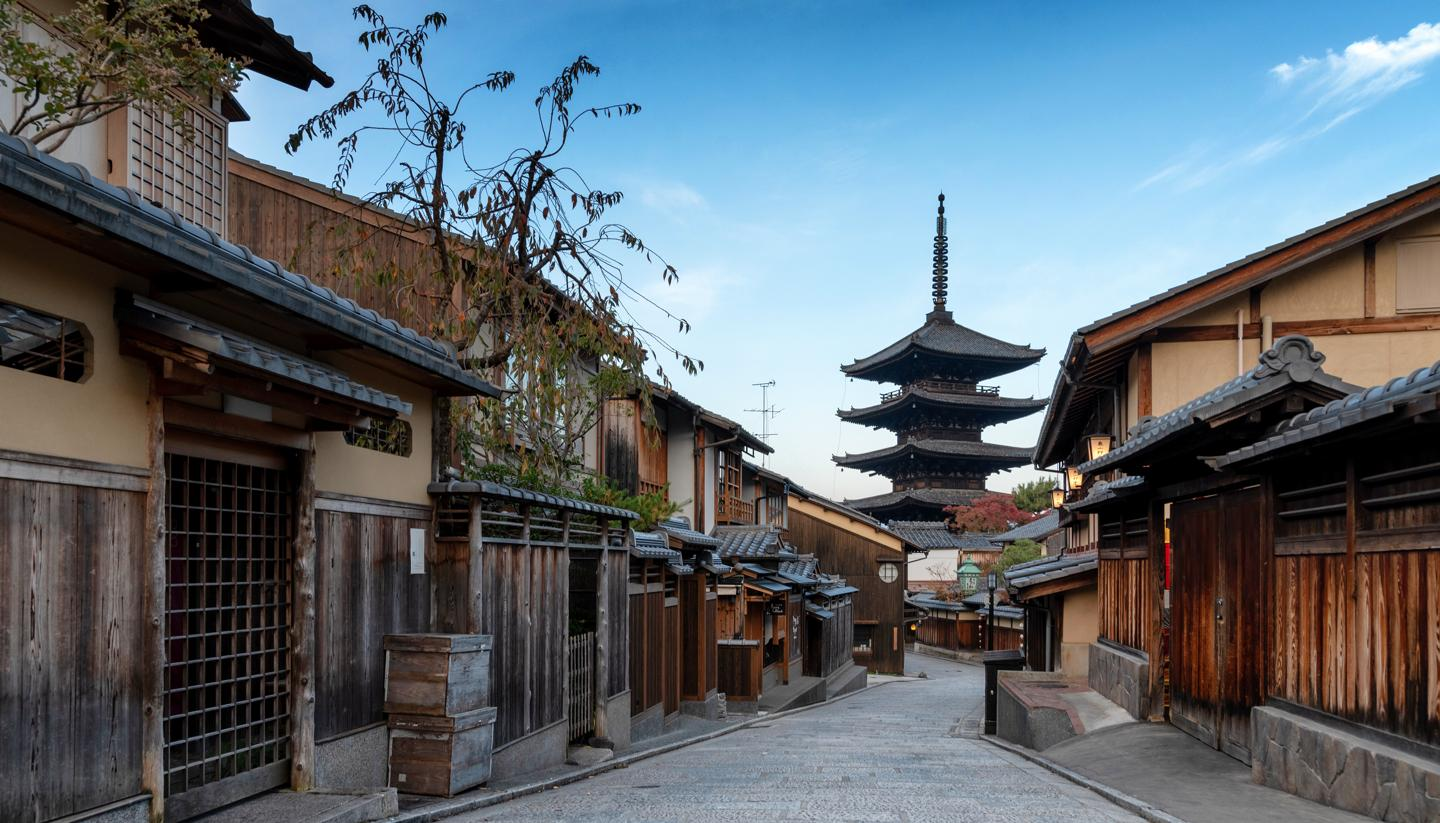 Kyoto - Early morning at Hokanji Temple in the Gion district, Kyoto, Japan