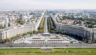 An aerial view of Unirii Boulevard and Constitutiei square in Bucharest, Romania