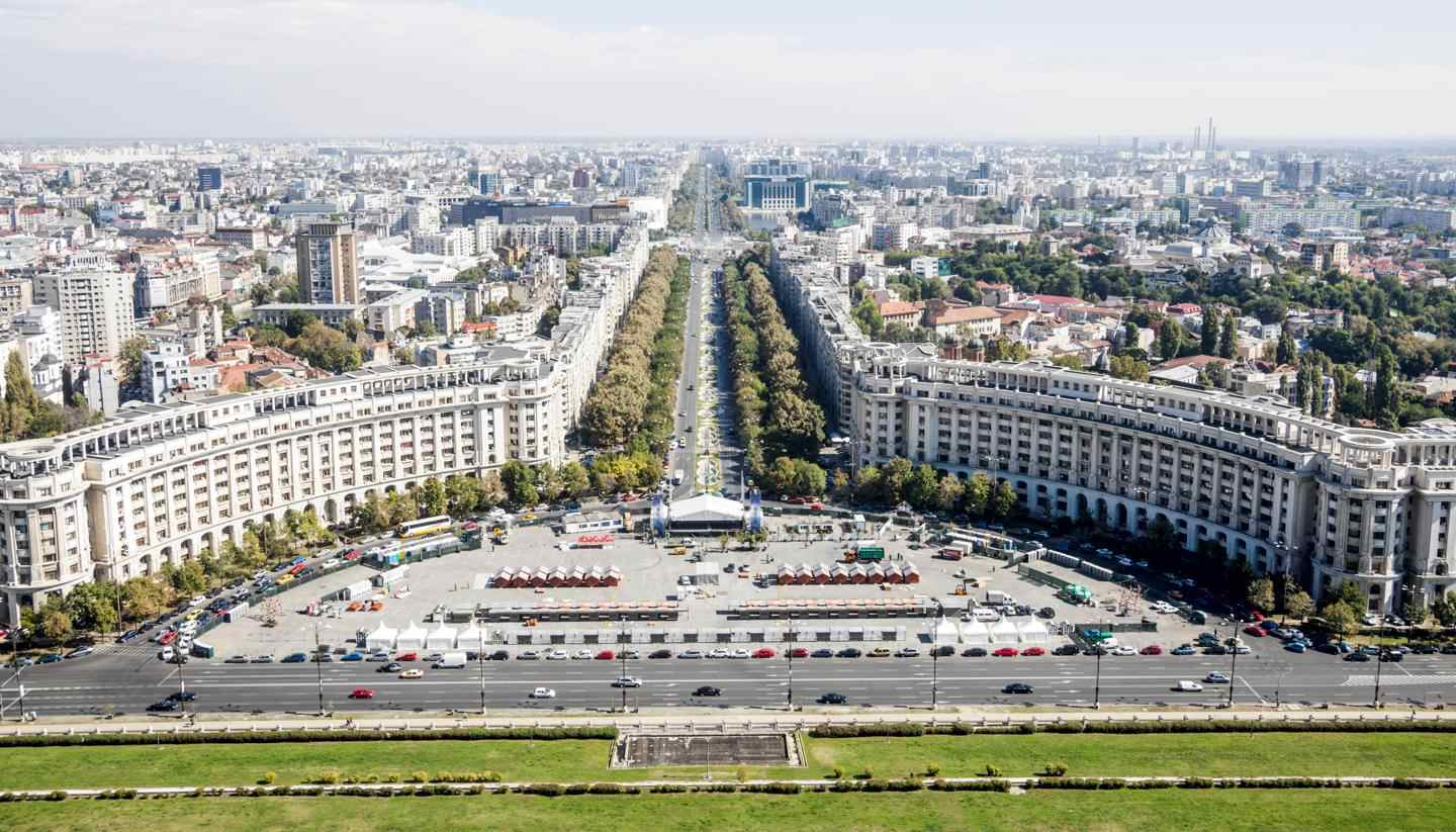 Bucharest - An aerial view of Unirii Boulevard and Constitutiei square in Bucharest, Romania