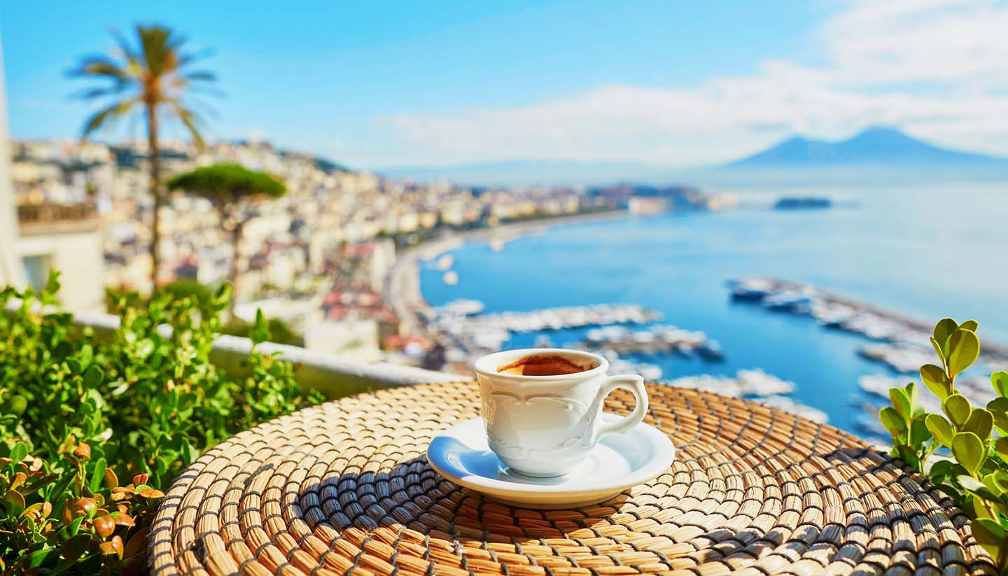 Naples - Coffee at Vesuvius Mount in Naples, Italy