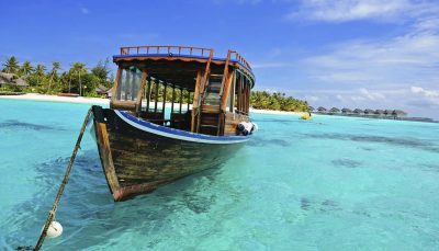 Wooden Dhoni Boat on the shore of the Maldives