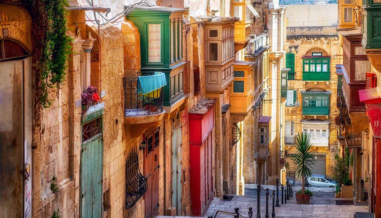 Valletta - Street of Valletta Town, Malta