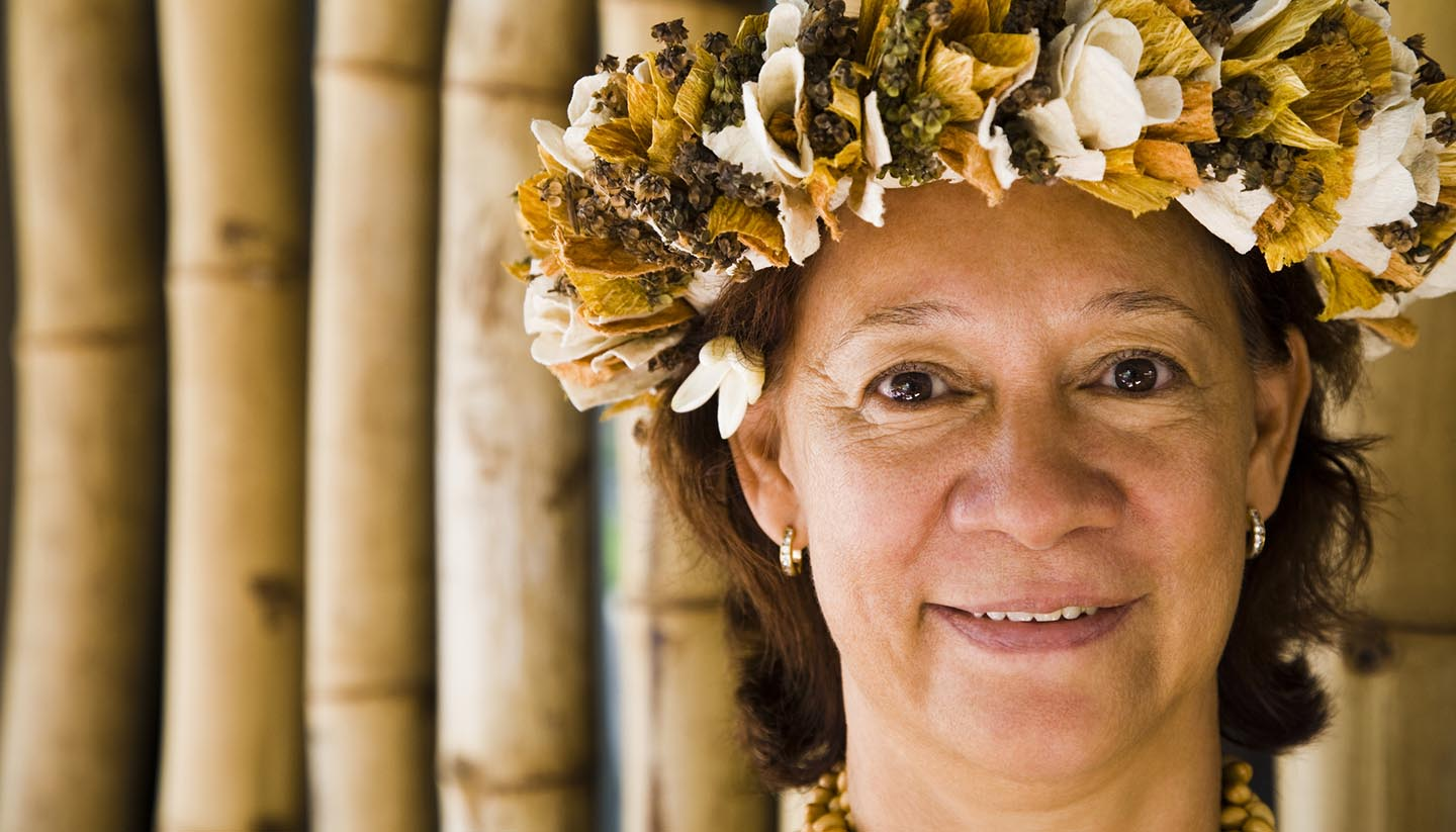 Nauru - Woman Wearing Flowers, Nauru