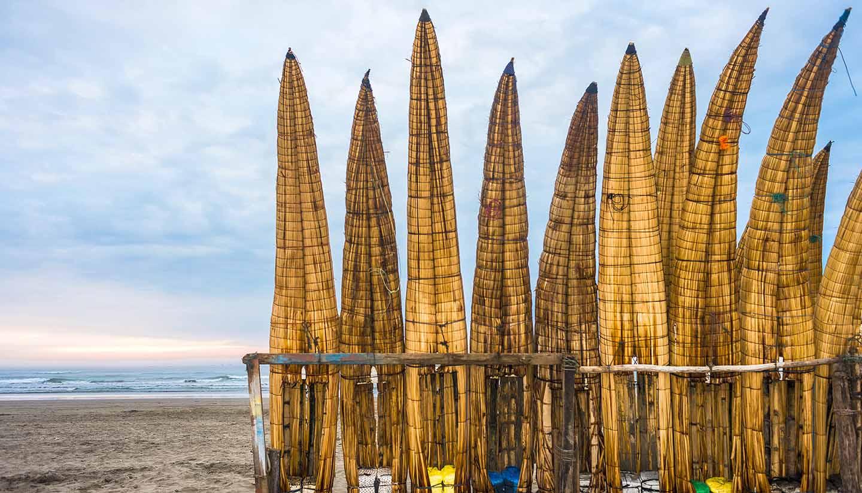 Peru - Traditional Peruvian Reed Boats in Peru