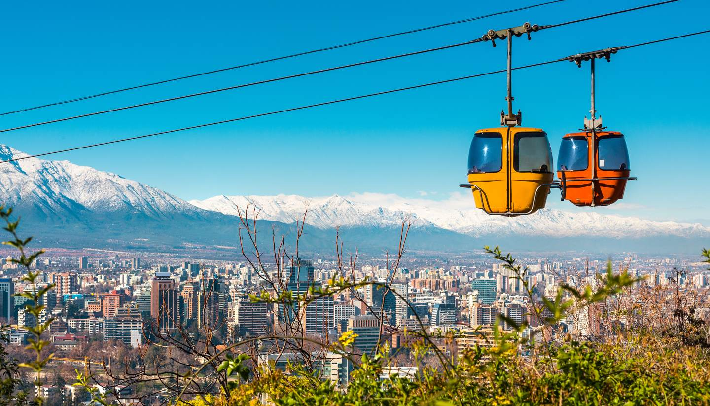 Santiago - Cable car in San Cristobal hill, Santiago de Chile