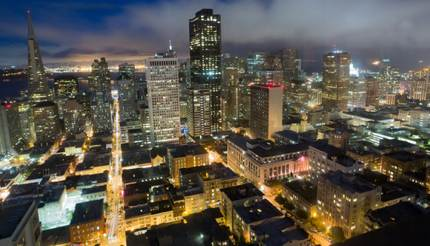 Aerial Views of San Francisco Financial District from Nob Hill at night