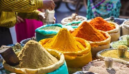 Spices on display in market