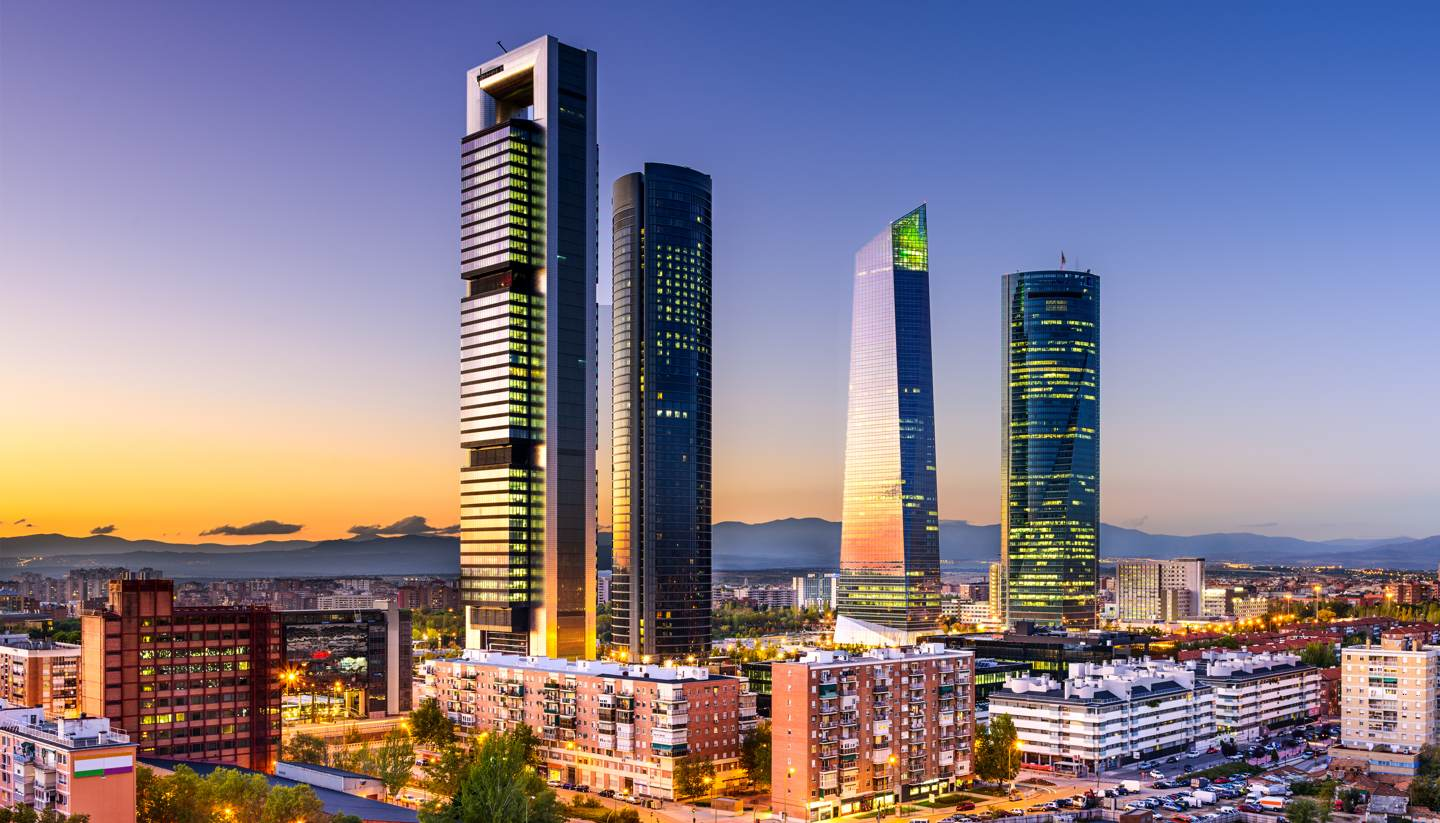 City Highlight: Madrid - Financial district in Madrid at twilight
