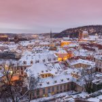 Snow covered roofs in Prague