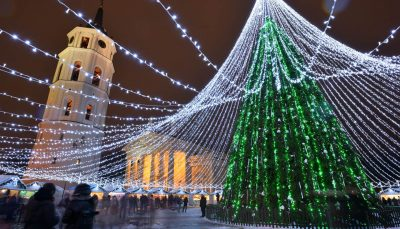 Night view of christmas tree in Vilnius, Lithuania