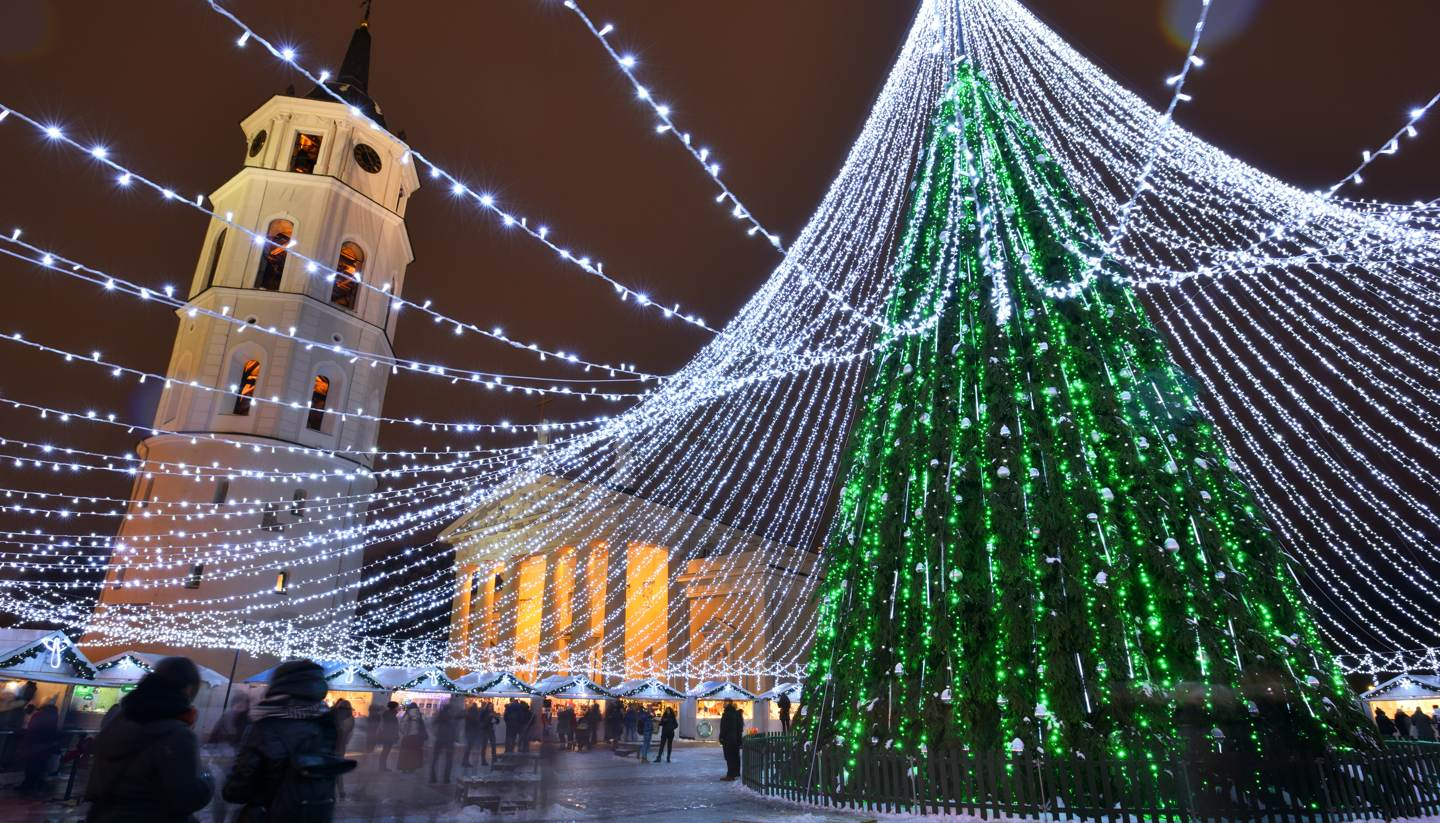 Top 5 winter holiday ideas - Night view of christmas tree in Vilnius, Lithuania