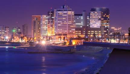 Skyline of Tel Aviv at night