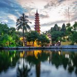 Panorama view of Tran Quoc pagoda, the oldest temple in Hanoi