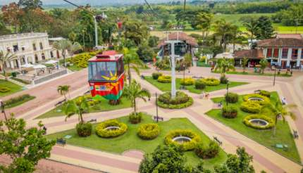 Downward view of cable car entering the National Coffee Park in Quindío