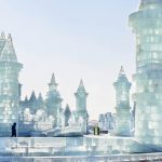 A castle made of ice at Harbin Ice and Snow World