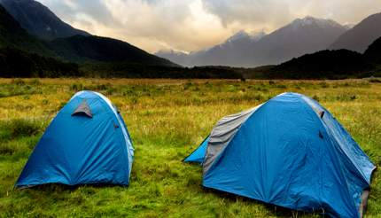 Two tents in the specatular Fiordland National Park