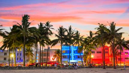 Miami Beach at sunset