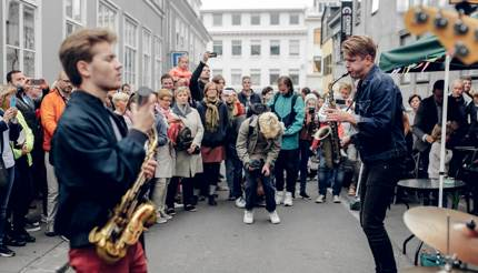 Jazz band playing on the street in Reykjavik