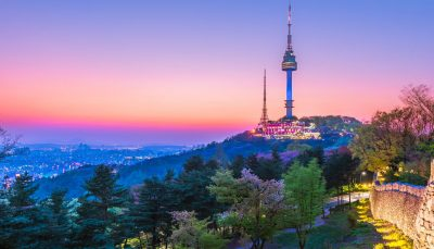 Seoul Tower at twilight in spring