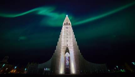 Northern lights over church