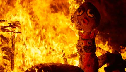 Las Fallas sculpture burning