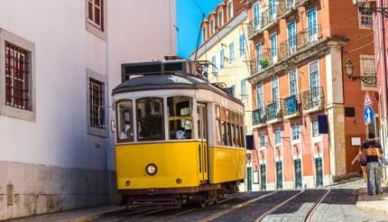 A tram in summer