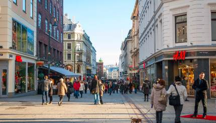 Shopping in Oslo - H&M on the right and other retail stores on the left of the street